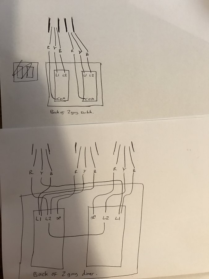 Problems Wiring 2 Way 2 Gang Switches  Dimmers