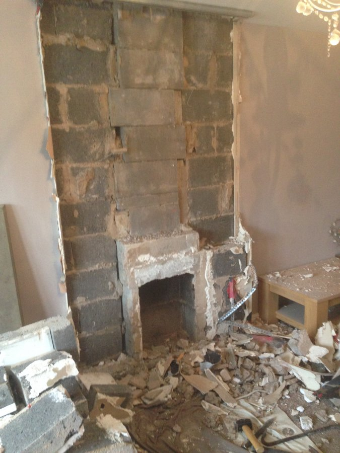 Removal Of Pre Cast Flue Gather And Starter Blocks