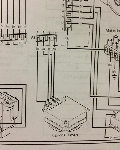 which wires for cm907 to replace mechanical clock on baxi?