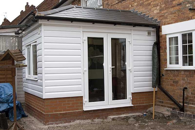 Upvc clad timber framed extension diynot forums for 2m french doors