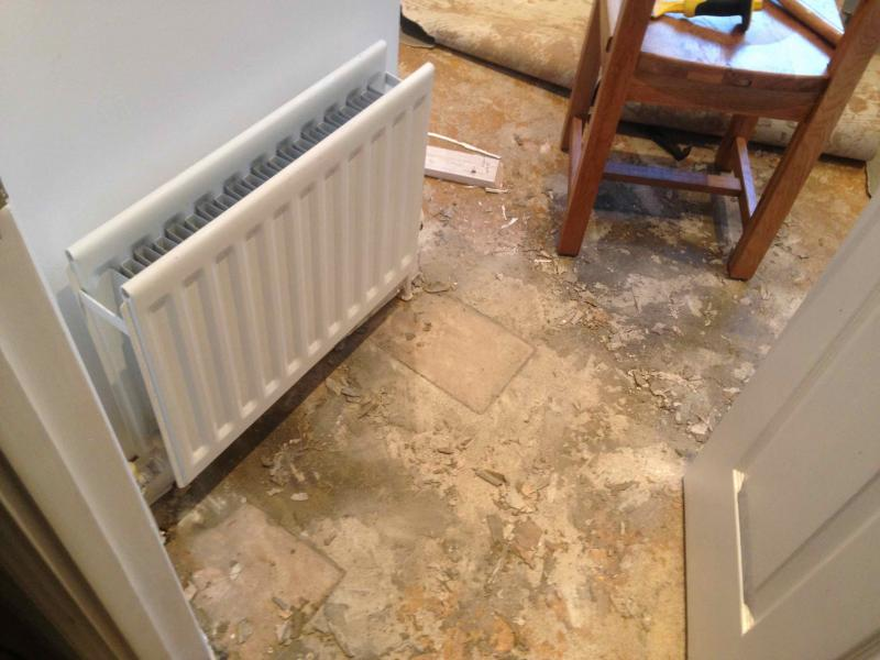 Tiling Concrete Floor With Plywood Around Radiator Pipes