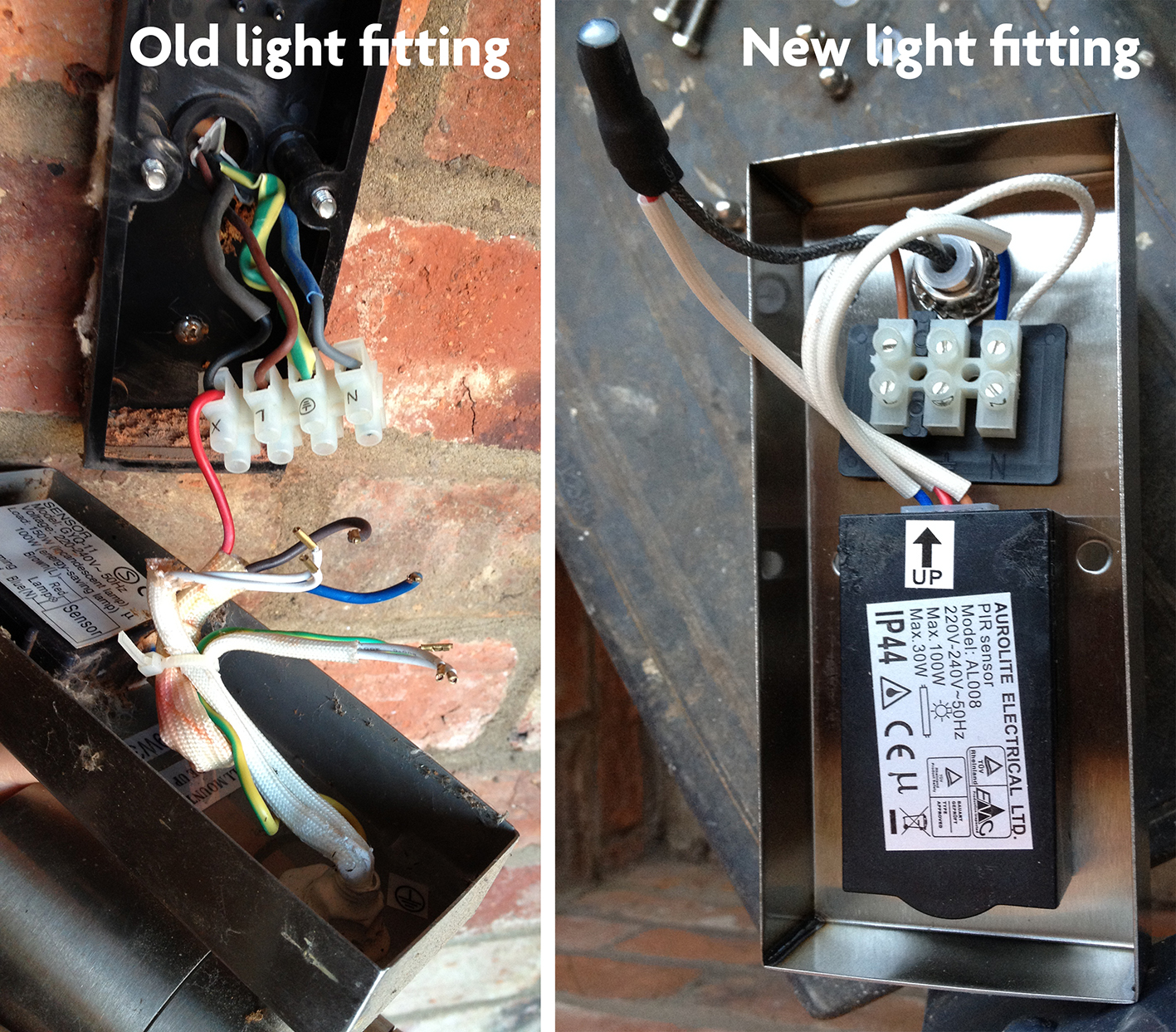 Wiring For Replacement Outside Light Diynot Forums Outdoor Sensor However There Are Only 3 Terminals On The Block In New Fitting Compared To 4 Old One L N Earth And X Please See Image Of