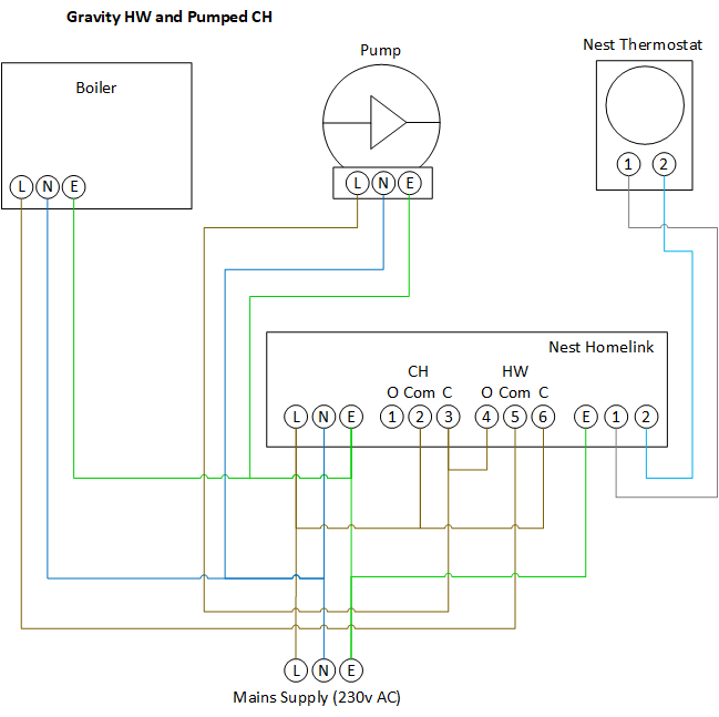 wiring diagram for pumped central heating system
