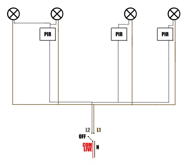 Uk Wiring Diagram For Outside Light With Pir : Pir override switch wiring diagram