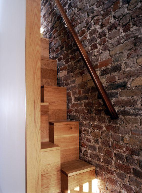 Alternating Space Saving Stairs Made From Oak Worksurface