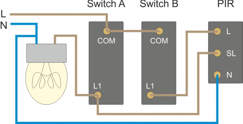 Uk Wiring Diagram For Outside Light With Pir : Pir for lights inside diynot forums