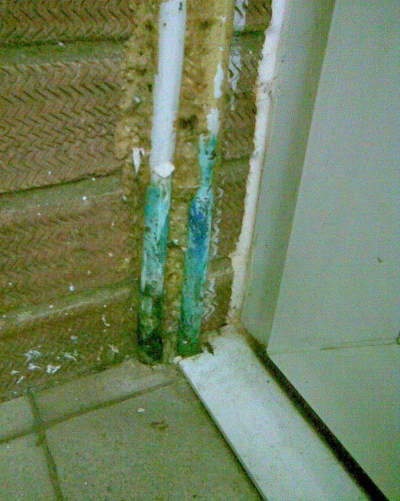 Blue/green Powder On Outside Of Copper Pipe.