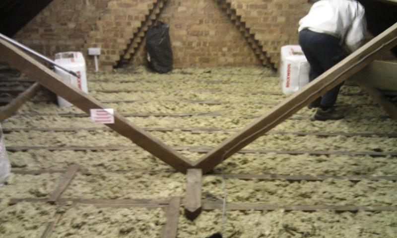 We Spent Most Of The Day Crawling Along Loft Clearing Out Eaves Once This Was Done Started To Top Up Base Layer Insulation As Shown In