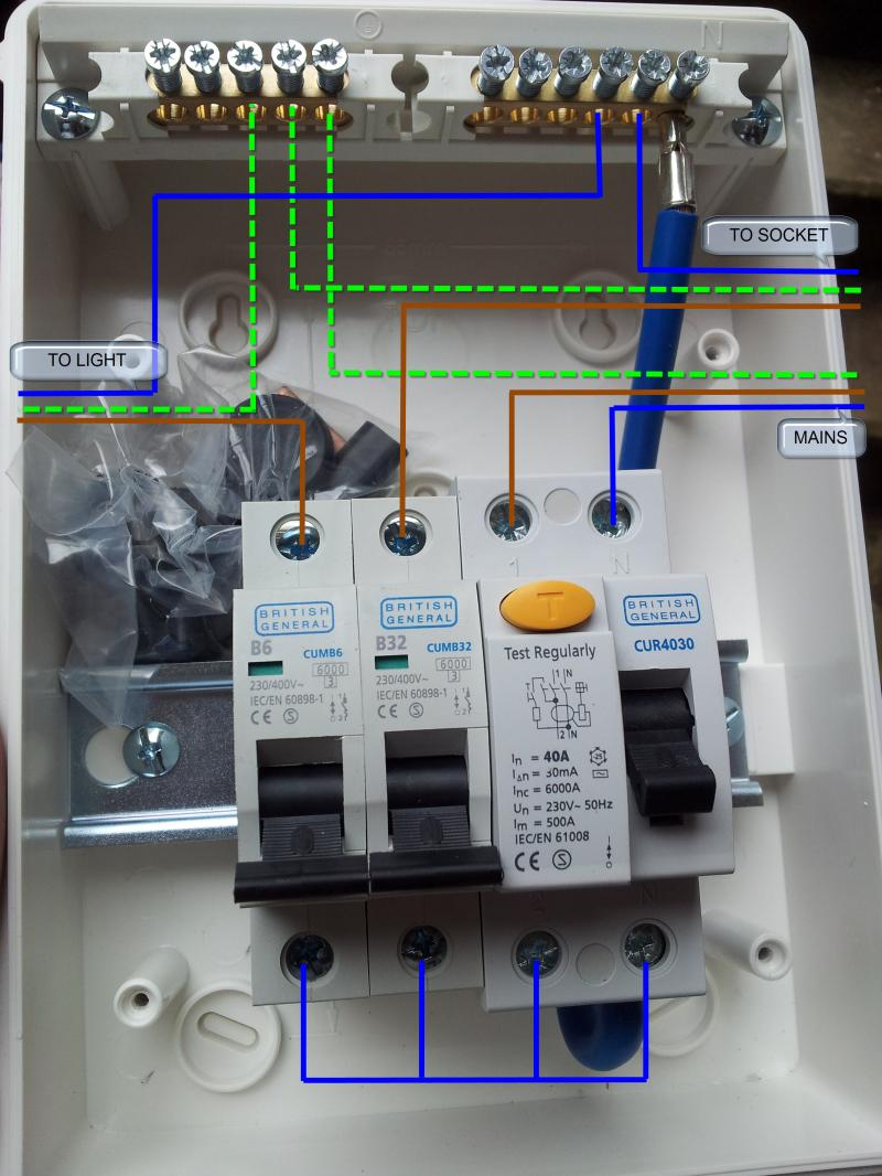 Garage Kit Wiring Diagram : Replacing outhouse rcd unit wiring help diynot forums