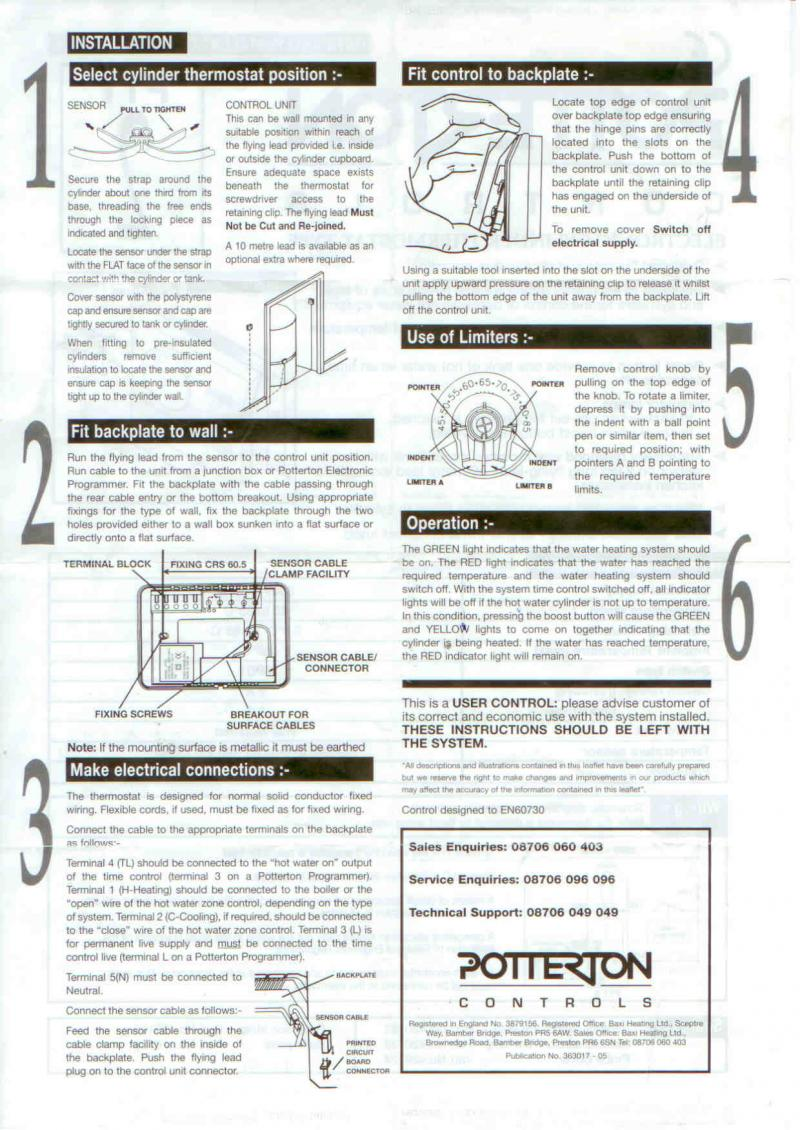 full installing and wiring a potterton ptt2 cylinder thermostat potterton ep2002 wiring diagram at virtualis.co