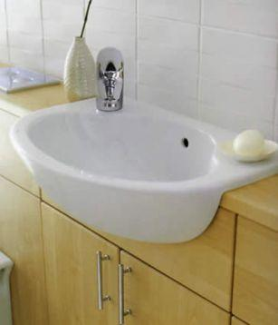 fitting a bathroom sink fitting semi recessed sink onto slimline vanity unit 18301