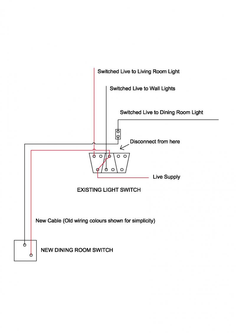 Advice In Moving A Light Switch Diynot Forums Basic Wiring For The Moment To Keep It Simple Ive Left Wall Lights As They Are Once You Have Dining Room Part Sorted If Need Any Further Assistance With