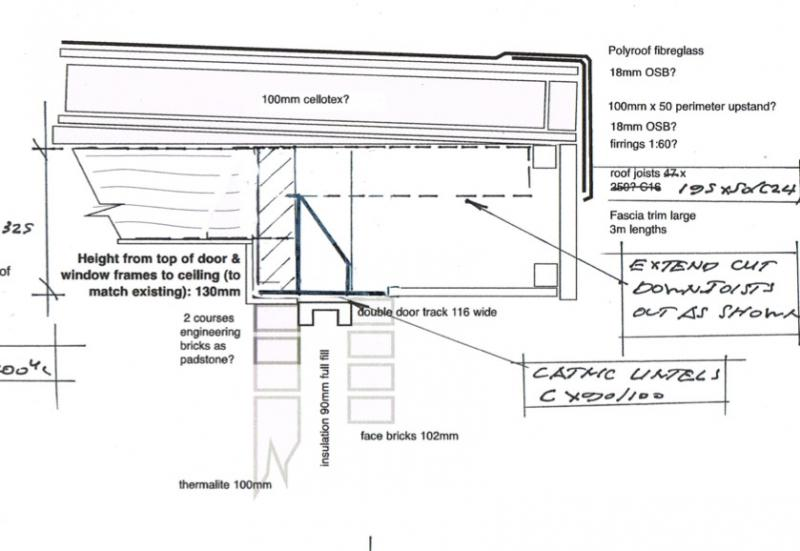 how to fit flat roof joists into  across big catnic lintel