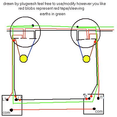 electrics:two way lighting, Wiring circuit